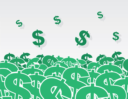 Large pile of dollar signs Illustration