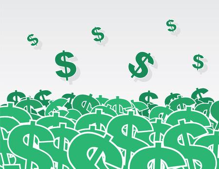 Large pile of dollar signs Illustration