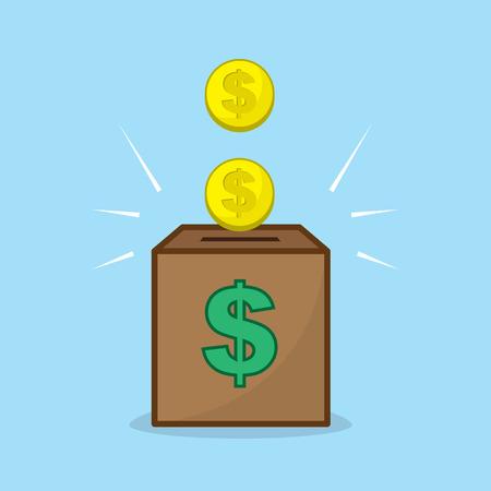 brown box: Coins dropping into brown box bank