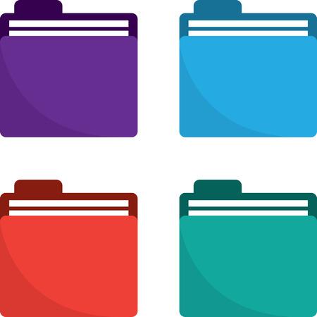 Geïsoleerde eenvoudige gekleurde mappictogrammen Stock Illustratie