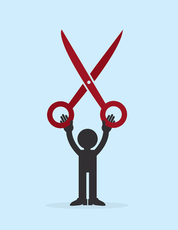 Figure holding up large red scissors