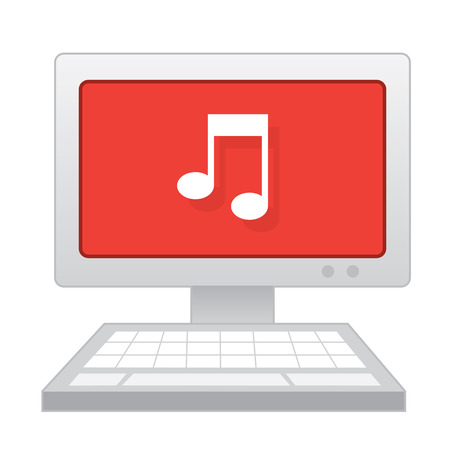Laptop Computer With Music Note Symbol Royalty Free Cliparts