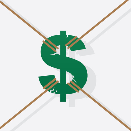 Large green dollar sign pulled in all directions by rope