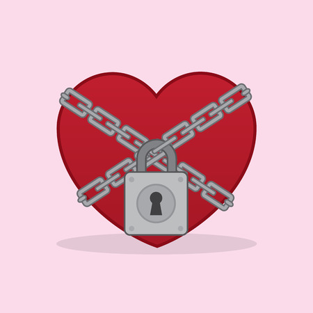 Heart locked up in chains Vector