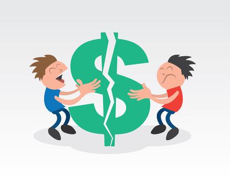 Dos muchachos que tiran aparte un gran signo de dólar verde