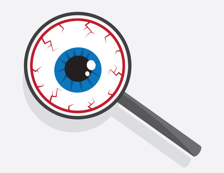 Large eyeball looking through magnifying glass Stock Vector - 28178758