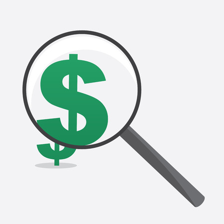 detective: Large Magnifying glass with dollar sign Illustration