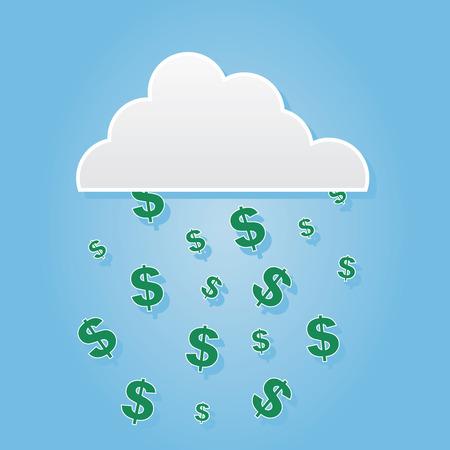 Cloud raining down dollar sign symbols