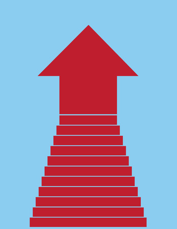 Steps leading into large red arrow