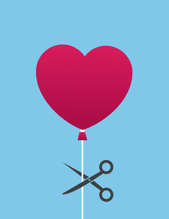 Heart balloon about to be cut by scissors Иллюстрация