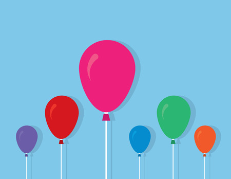 Colored balloons on strings with blue background Vector