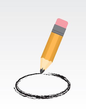 Large pencil drawing a circle Illusztráció