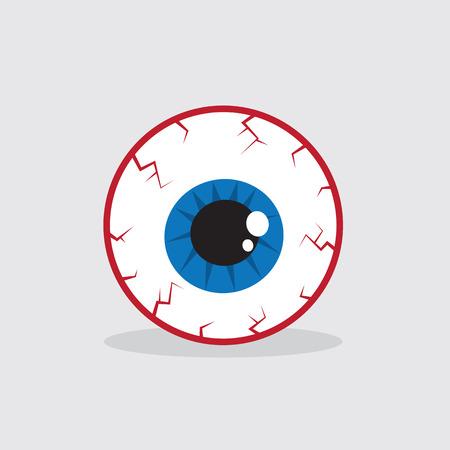 Single bloodshot eyeball on the ground