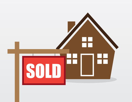House with red sold sign outside Vector