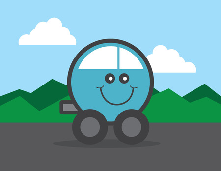 Round car cartoon happy face
