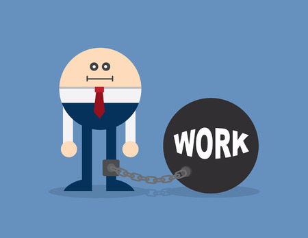 lockdown: Character locked to a ball and chain with the word work Illustration