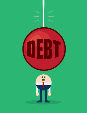 looming: Character with large debt looming overhead