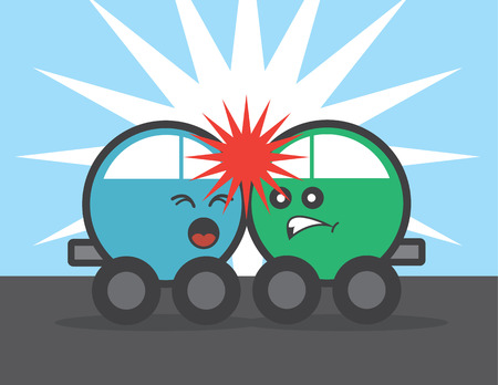 crashing: Two cars with faces crashing head on