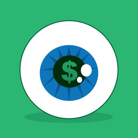 Eyeball with dollar sign in the iris Çizim