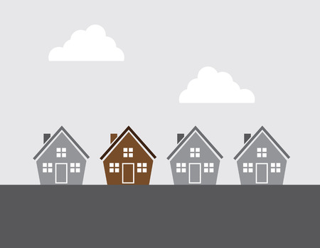 Houses all in grayscale except one Vector