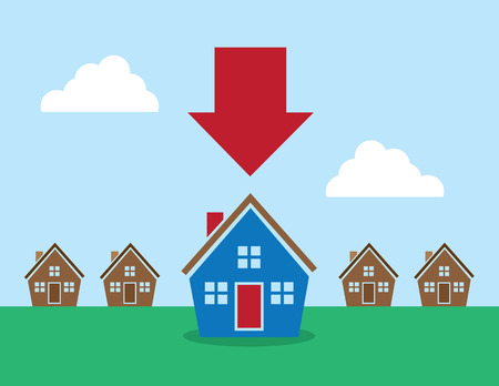 row of houses: Row of houses with large red arrow pointing at one