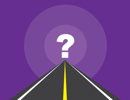 Road to question mark with purple background