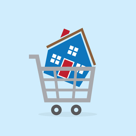 House in metal shopping cart Vector