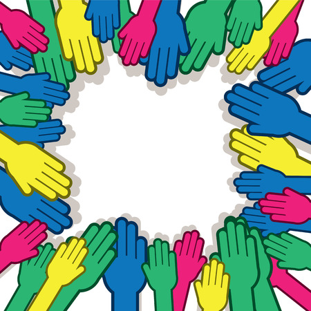 participate: Many hands reaching towards one another in various colors Illustration