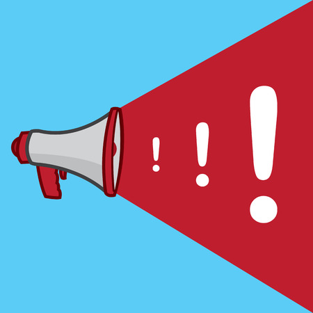 marks: Megaphone with growing exclamation marks