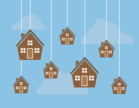 bought: Many houses hanging from strings in the sky
