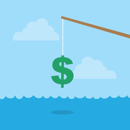 fishing pole: Fishing pole with dollar sign above water