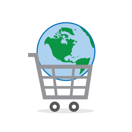 market place: Shopping cart symbol with globe inside