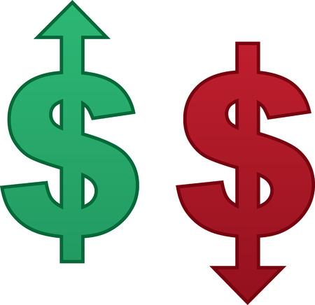 Signo aislado dólar con la flecha apuntando hacia arriba y la flecha que apunta hacia abajo Foto de archivo - 29126440