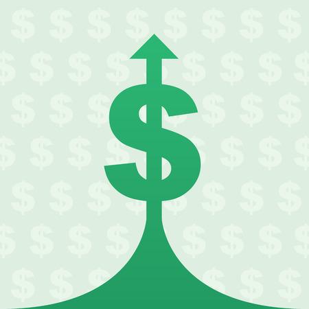 Dollar symbol with arrow stretching up