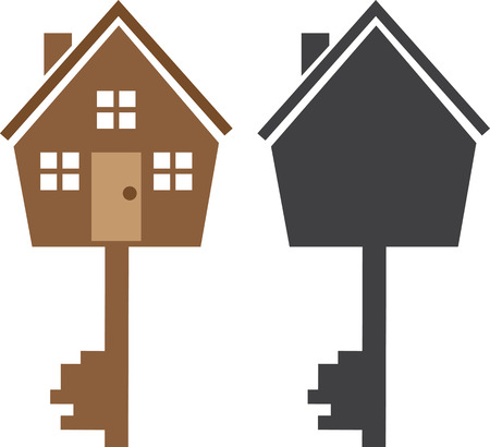 version: Key house symbol with silhouette version
