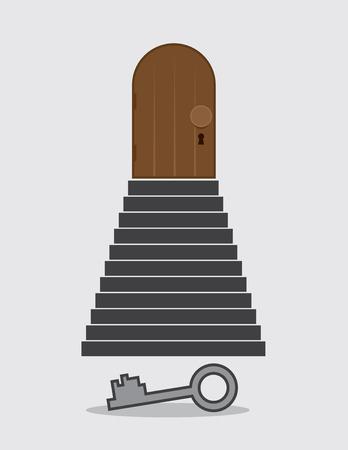 下の地面にキーとロックされたドアまでの手順