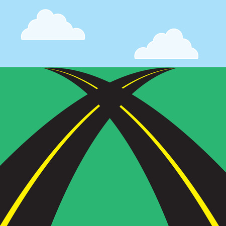 Twee wegen elkaar kruisen in het midden Stock Illustratie