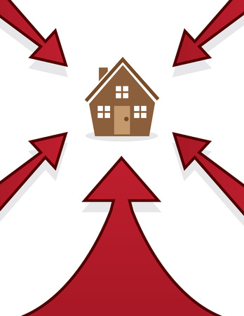 quaint: House with red arrows pointing