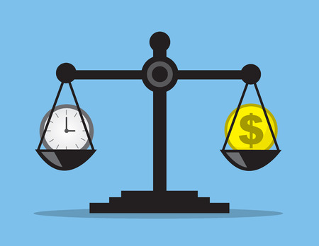 money: Scale weighing money and time