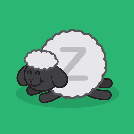 Sheep sleeping with large Z in wool Иллюстрация