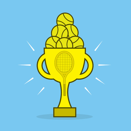 Golden tennis award trophy blue background Ilustração
