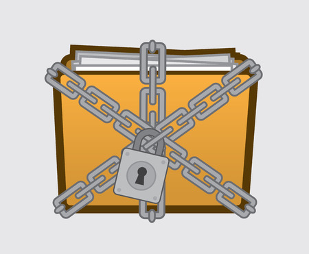Confidential folder with files locked up  Vector