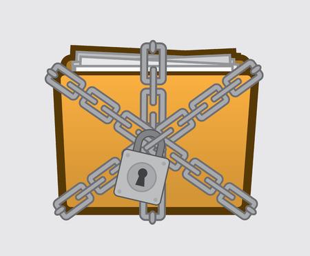 Vertrouwelijke map met bestanden opgesloten