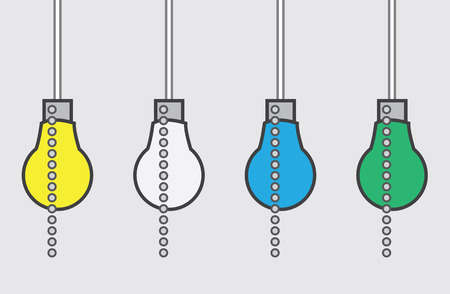 metal light bulb icon: Light bulb with chain in different colors