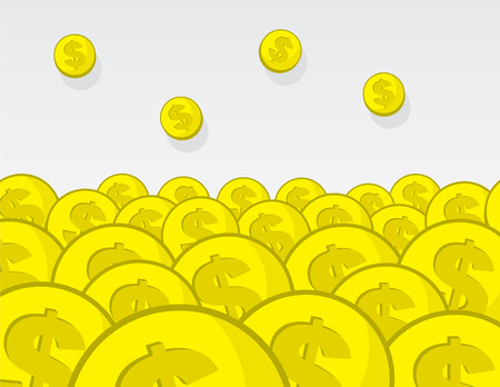 Large pile of golden coins Ilustrace