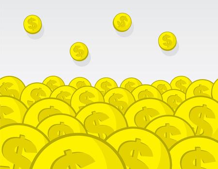 power of money: Large pile of golden coins Illustration