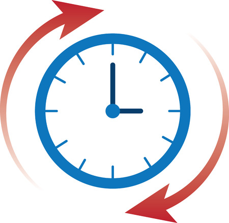 clockwise: Clock time with red arrows moving clockwise Illustration