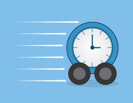 Clock with wheels speeding through