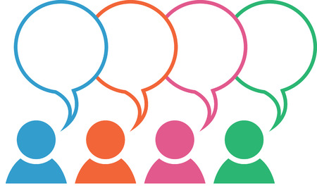 friends talking: Icon with group in different colors with blank overlapping speech bubbles Illustration