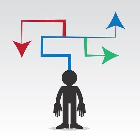 choose a path: Figure with arrows pointing in different directions